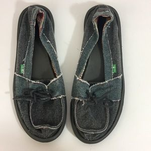 Sanuk Shoes Size 9 Denim Loafers Blue-Gray